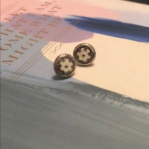 Jewelry - Gold and White Flower Stud Earrings